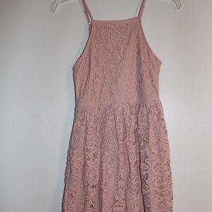 Lulu's Pink Crochet Midi Dress Spaghetti Strap